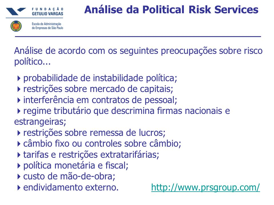 Análise da Political Risk Services