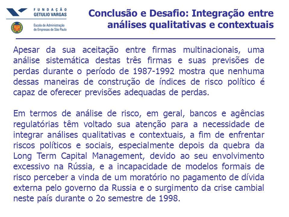 Conclusão e Desafio: Integração entre análises qualitativas e contextuais