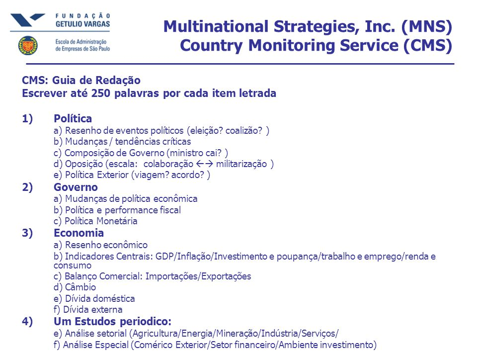 Multinational Strategies, Inc. (MNS) Country Monitoring Service (CMS)