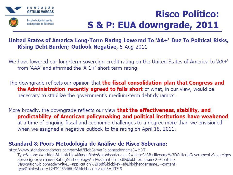 Risco Político: S & P: EUA downgrade, 2011