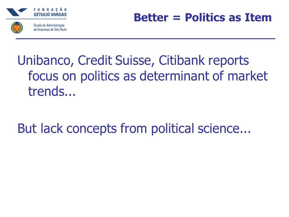 Better = Politics as Item