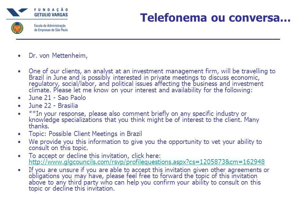 Telefonema ou conversa...