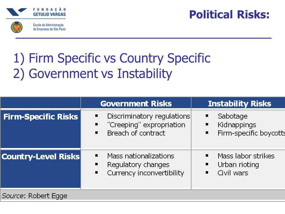 1) Firm Specific vs Country Specific 2) Government vs Instability