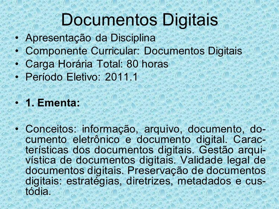 Documentos Digitais Apresentação da Disciplina