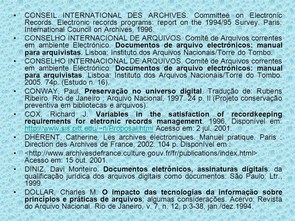 CONSEIL INTERNATIONAL DES ARCHIVES. Committee on Electronic Records