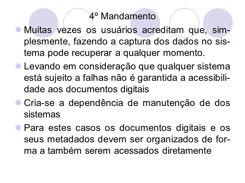 4º MandamentoMuitas vezes os usuários acreditam que, sim-plesmente, fazendo a captura dos dados no sis-tema pode recuperar a qualquer momento.