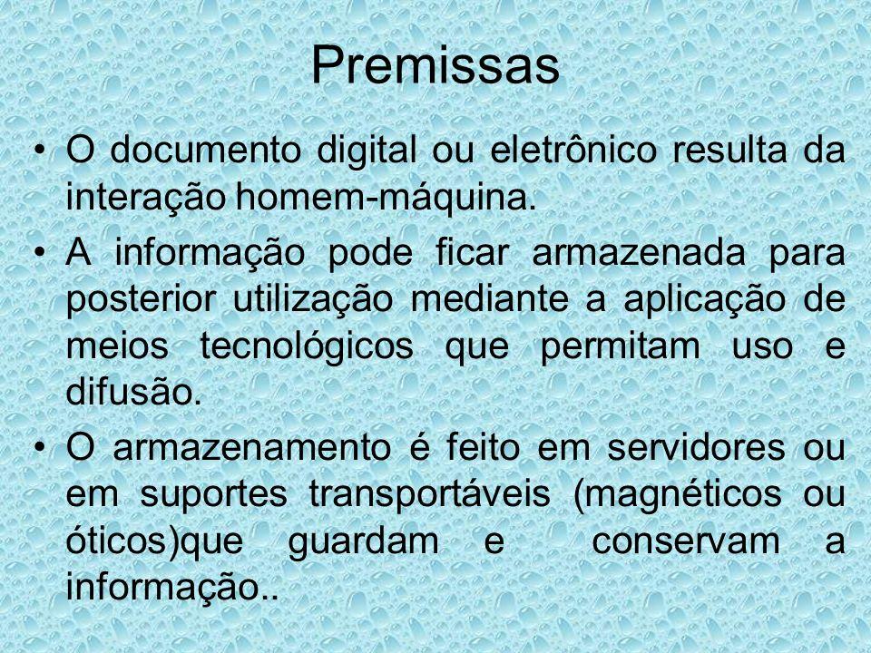 Premissas O documento digital ou eletrônico resulta da interação homem-máquina.