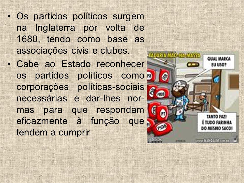 Os partidos políticos surgem na Inglaterra por volta de 1680, tendo como base as associações civis e clubes.