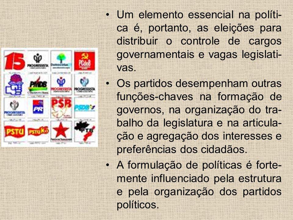 Um elemento essencial na políti-ca é, portanto, as eleições para distribuir o controle de cargos governamentais e vagas legislati-vas.