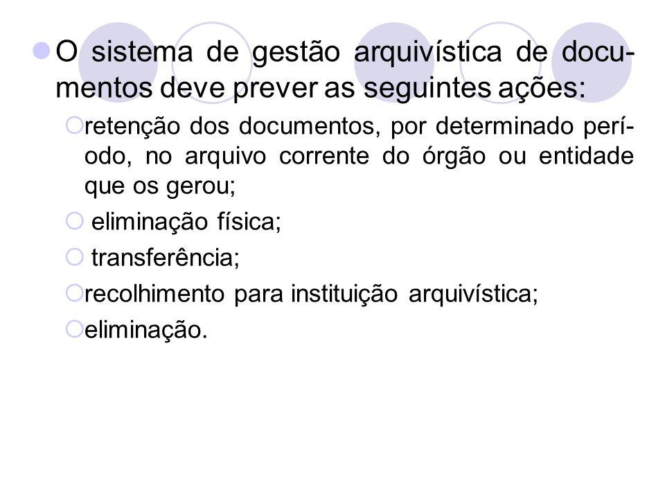 O sistema de gestão arquivística de docu-mentos deve prever as seguintes ações:
