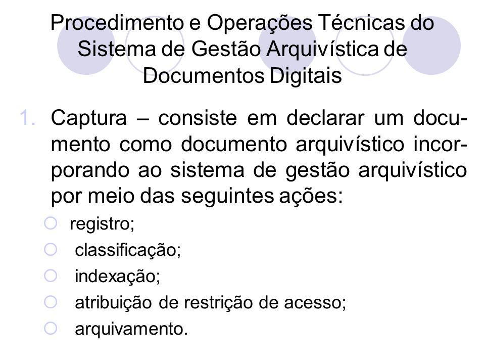 Procedimento e Operações Técnicas do Sistema de Gestão Arquivística de Documentos Digitais