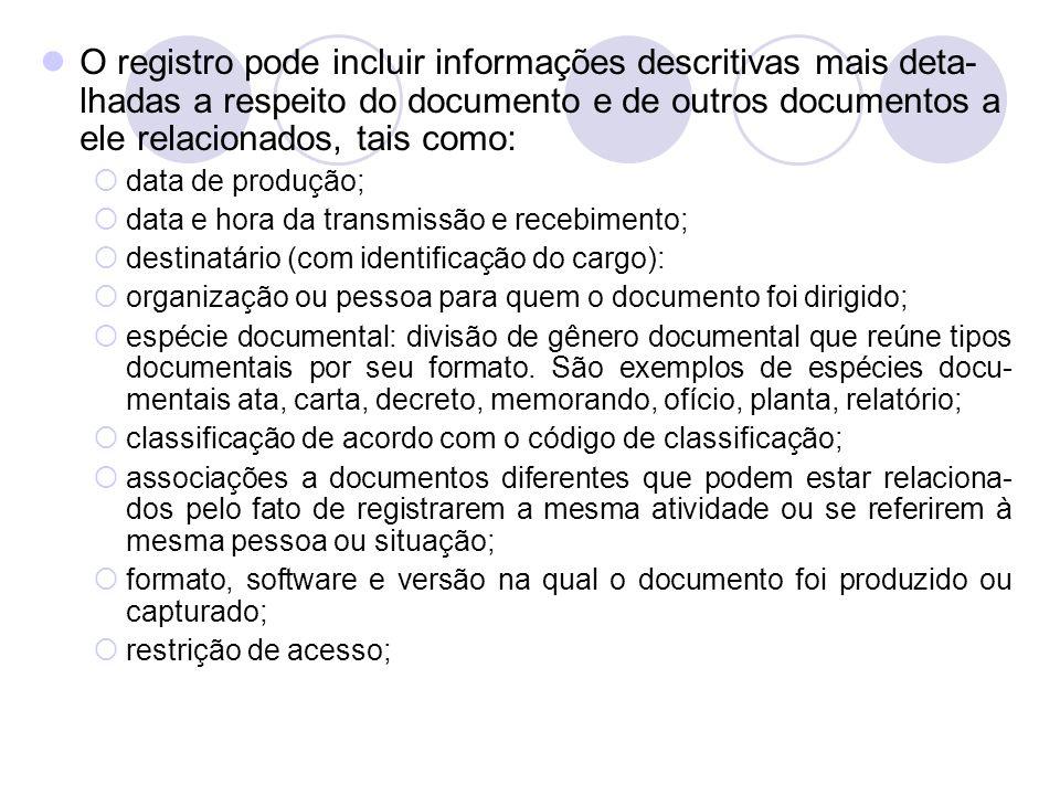 O registro pode incluir informações descritivas mais deta-lhadas a respeito do documento e de outros documentos a ele relacionados, tais como: