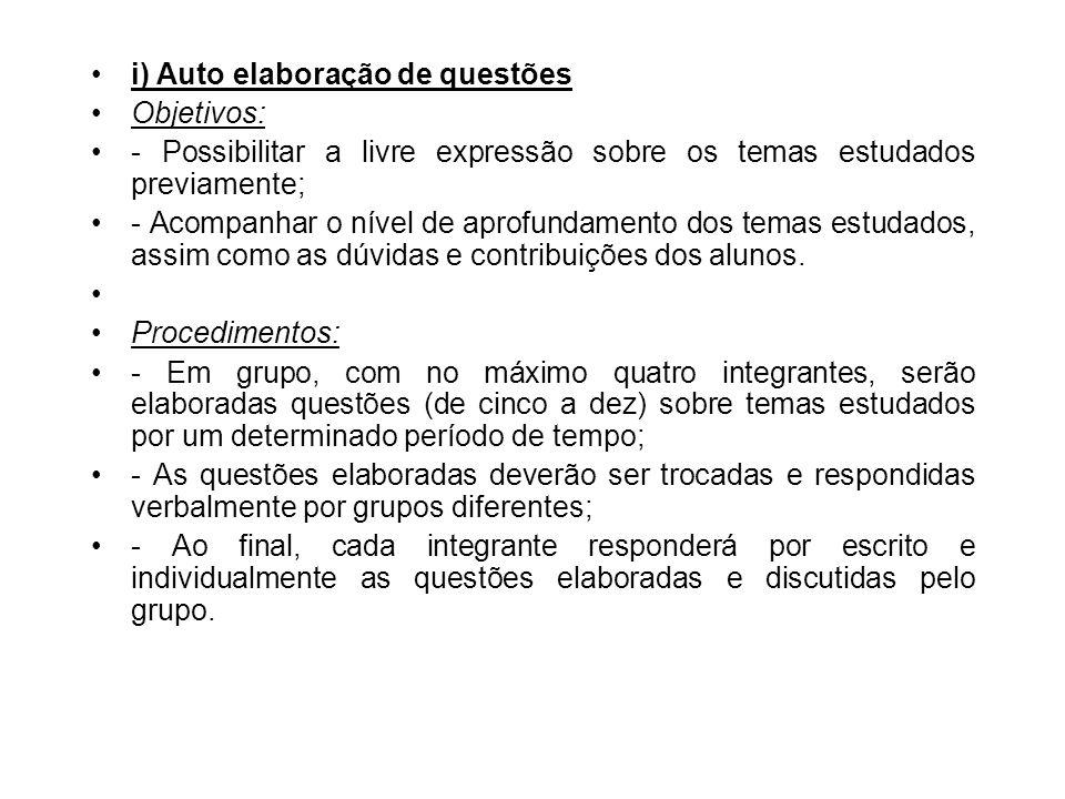 i) Auto elaboração de questões