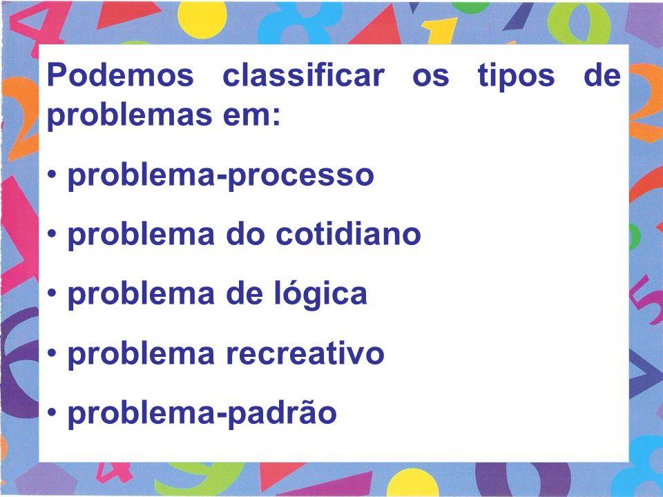 Podemos classificar os tipos de problemas em: