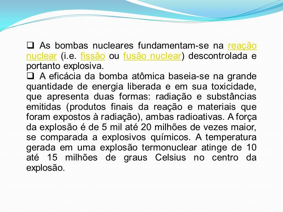 As bombas nucleares fundamentam-se na reação nuclear (i. e