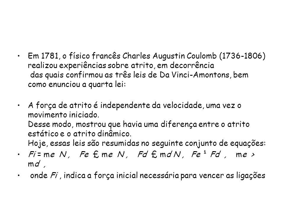 Em 1781, o físico francês Charles Augustin Coulomb (1736-1806) realizou experiências sobre atrito, em decorrência das quais confirmou as três leis de Da Vinci-Amontons, bem como enunciou a quarta lei: