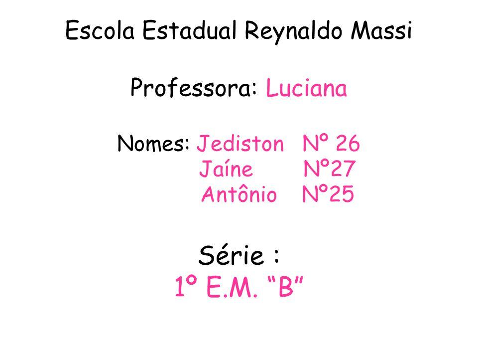 Escola Estadual Reynaldo Massi Professora: Luciana Nomes: Jediston Nº 26 Jaíne Nº27 Antônio Nº25 Série : 1º E.M.