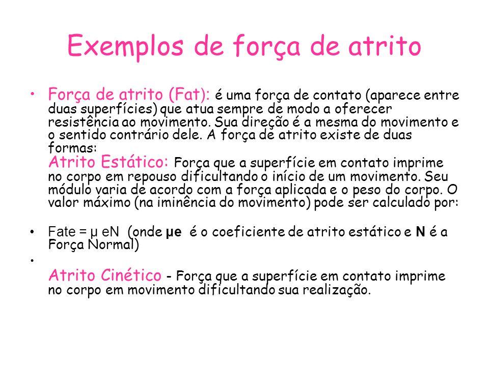 Exemplos de força de atrito