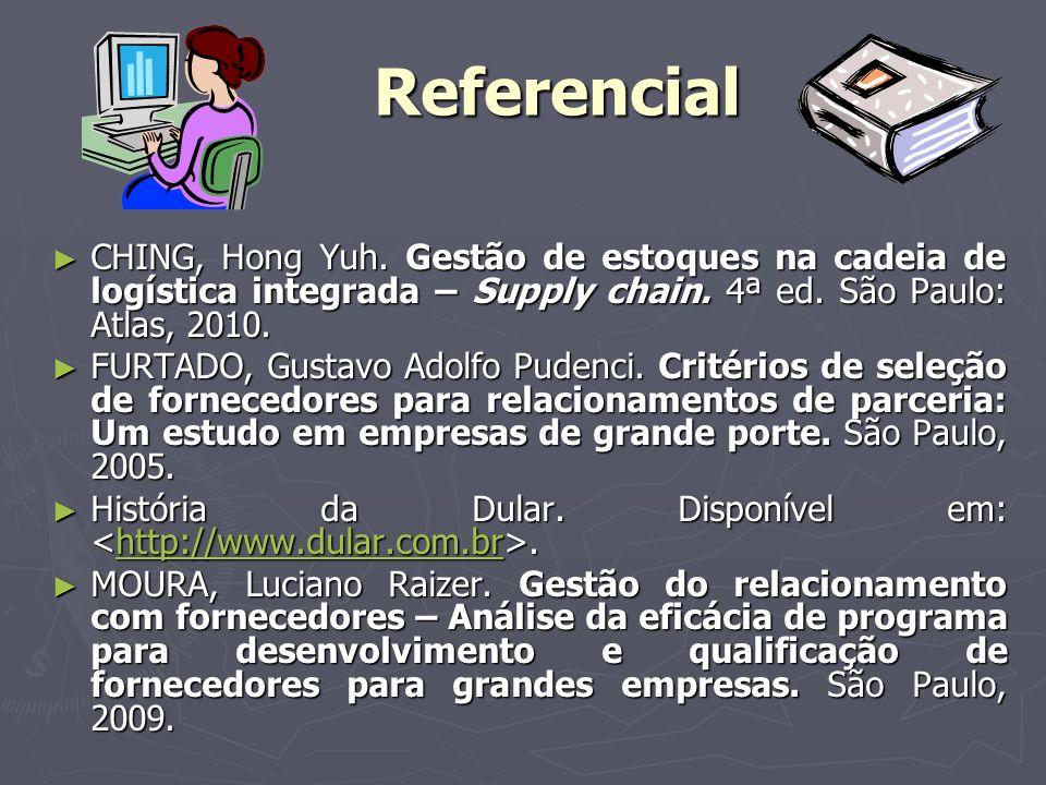 Referencial CHING, Hong Yuh. Gestão de estoques na cadeia de logística integrada – Supply chain. 4ª ed. São Paulo: Atlas, 2010.