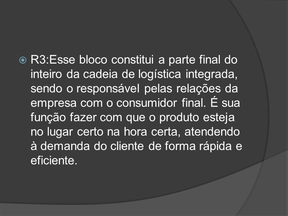 R3:Esse bloco constitui a parte final do inteiro da cadeia de logística integrada, sendo o responsável pelas relações da empresa com o consumidor final.