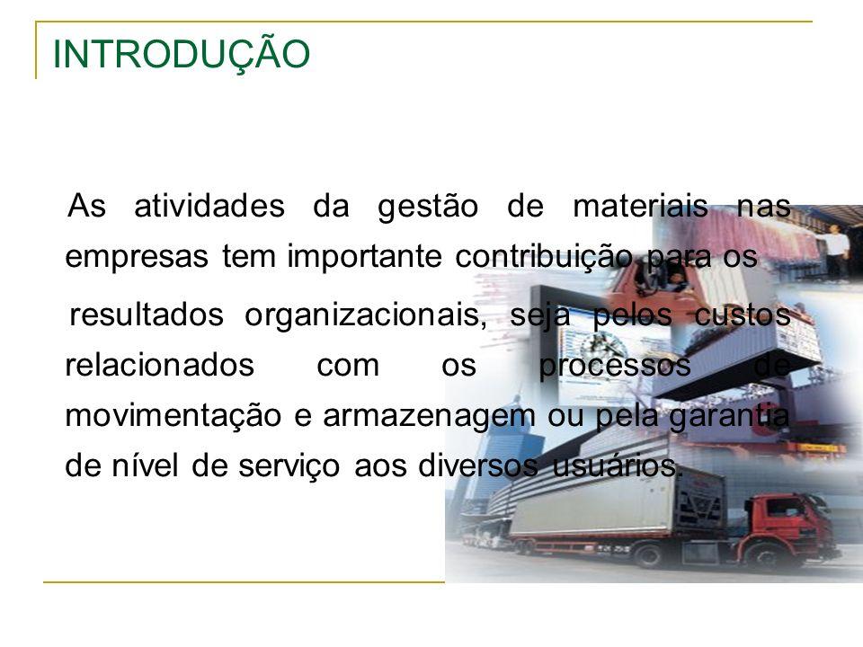 INTRODUÇÃO As atividades da gestão de materiais nas empresas tem importante contribuição para os.