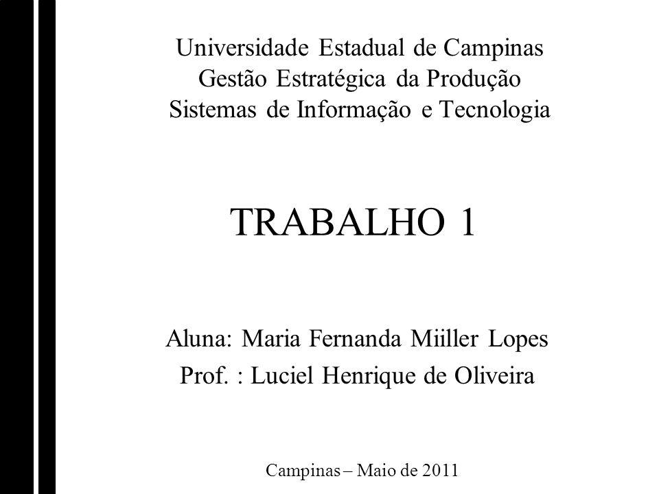 Universidade Estadual de Campinas Gestão Estratégica da Produção Sistemas de Informação e Tecnologia