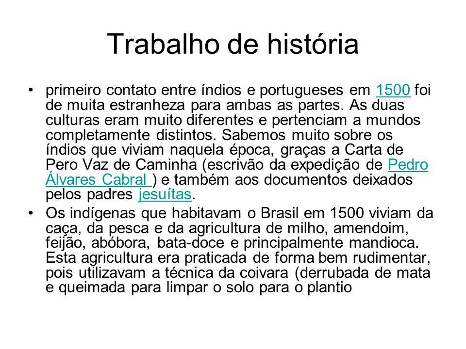 Suficiente Trabalho de história primeiro contato entre índios e portugueses  MF27