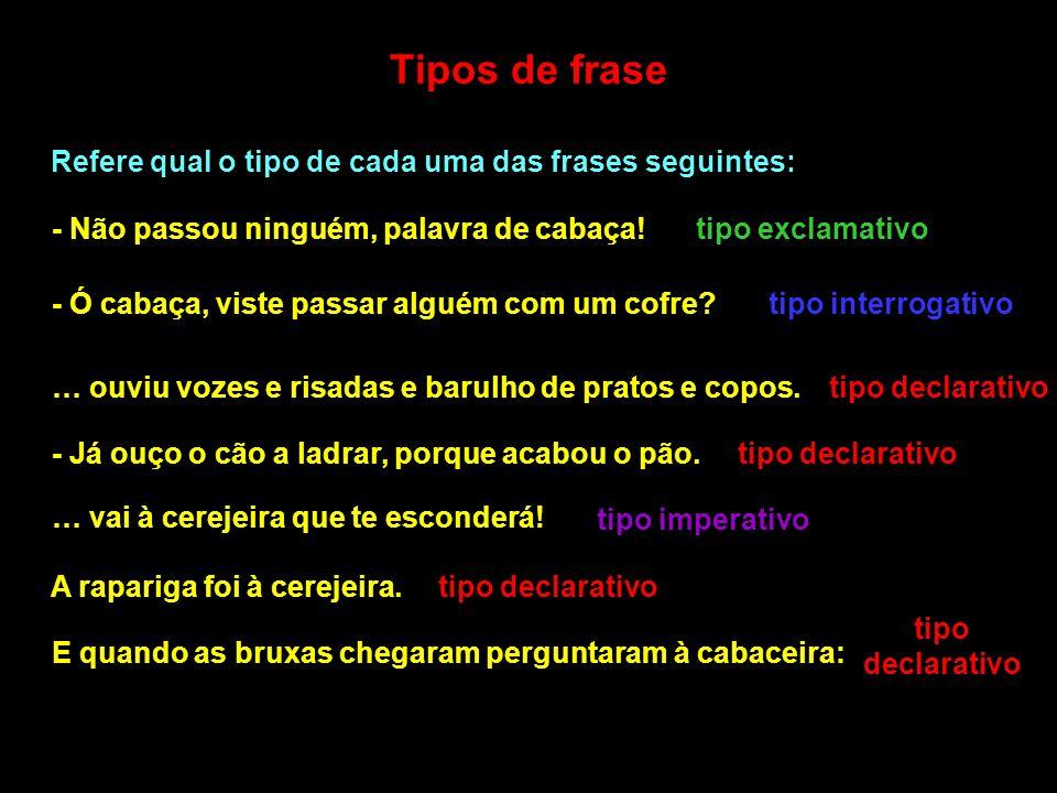 Tipos de frase Refere qual o tipo de cada uma das frases seguintes: