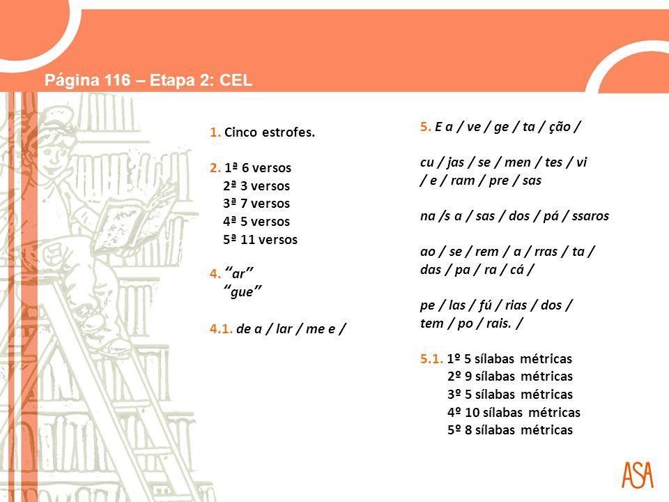 Página 116 – Etapa 2: CEL 5. E a / ve / ge / ta / ção /