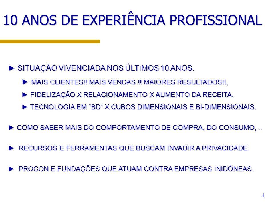 10 ANOS DE EXPERIÊNCIA PROFISSIONAL