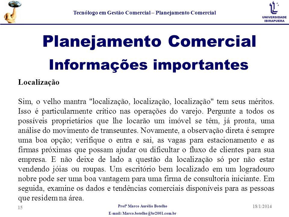 Planejamento Comercial Informações importantes