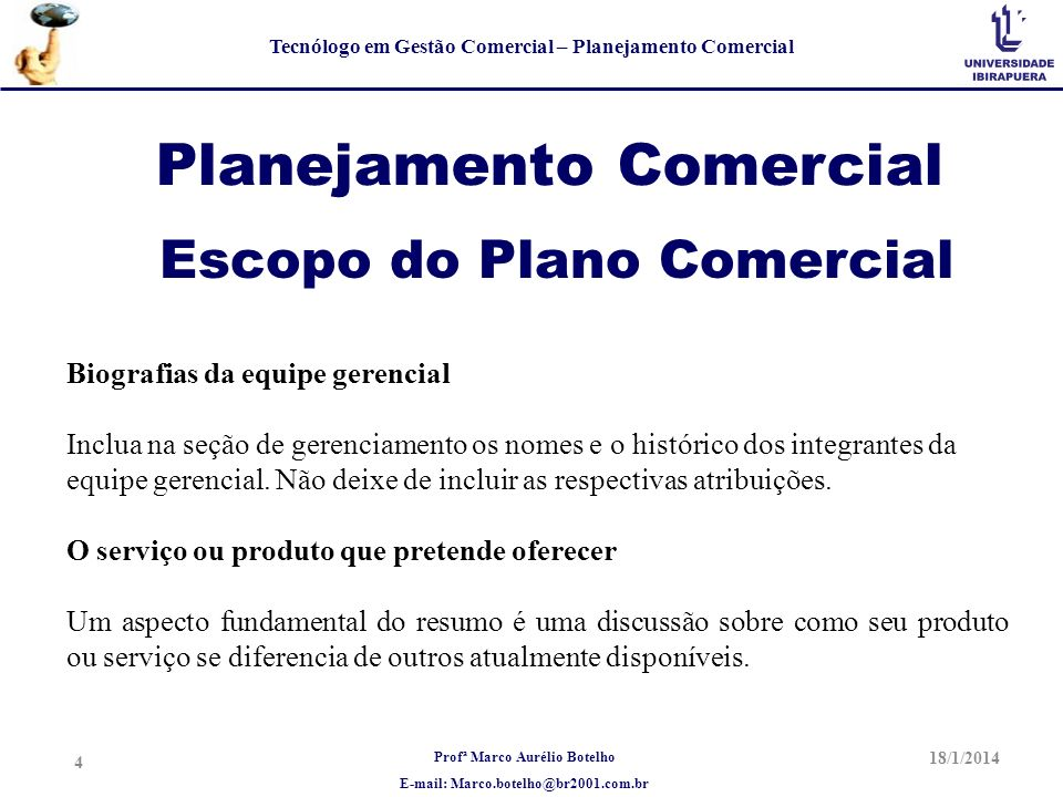 Planejamento Comercial Escopo do Plano Comercial