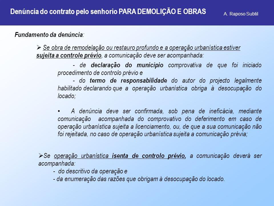 Denúncia do contrato pelo senhorio PARA DEMOLIÇÃO E OBRAS