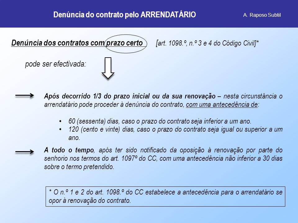 Denúncia do contrato pelo ARRENDATÁRIO