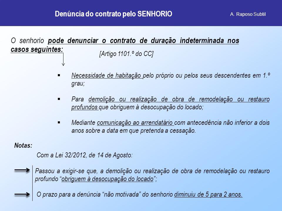 Denúncia do contrato pelo SENHORIO