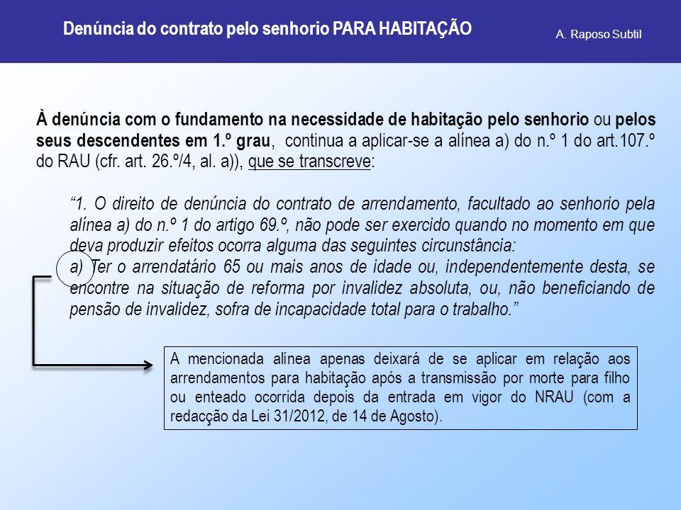 Denúncia do contrato pelo senhorio PARA HABITAÇÃO
