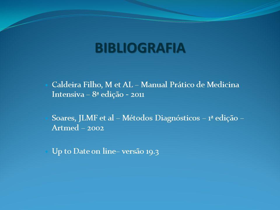 BIBLIOGRAFIA Caldeira Filho, M et AL – Manual Prático de Medicina Intensiva – 8ª edição - 2011.
