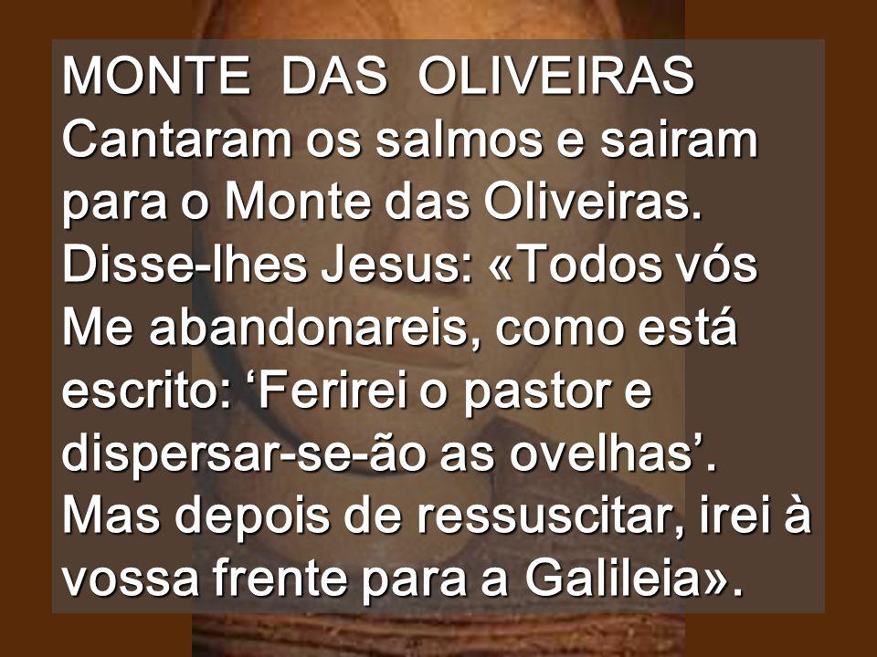 MONTE DAS OLIVEIRAS Cantaram os salmos e sairam para o Monte das Oliveiras.