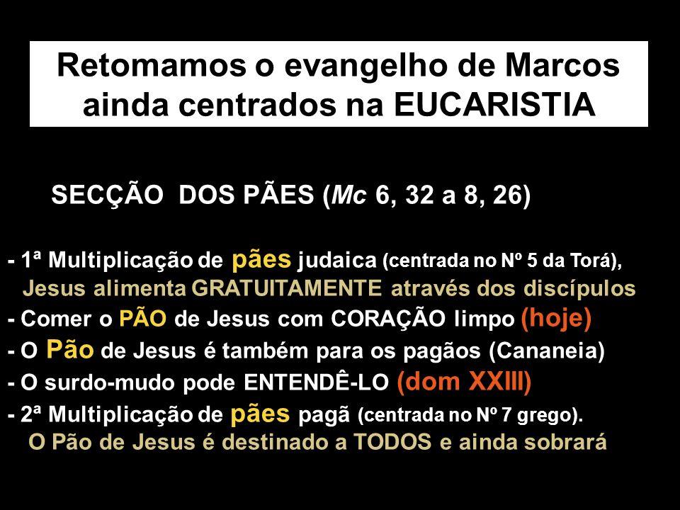 Retomamos o evangelho de Marcos ainda centrados na EUCARISTIA