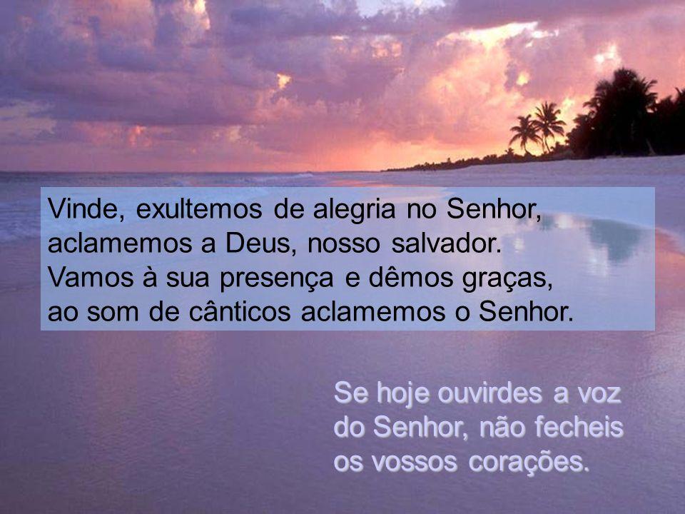 Vinde, exultemos de alegria no Senhor, aclamemos a Deus, nosso salvador.