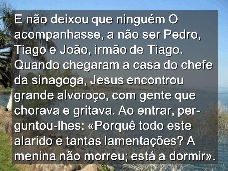 E não deixou que ninguém O acompanhasse, a não ser Pedro, Tiago e João, irmão de Tiago.