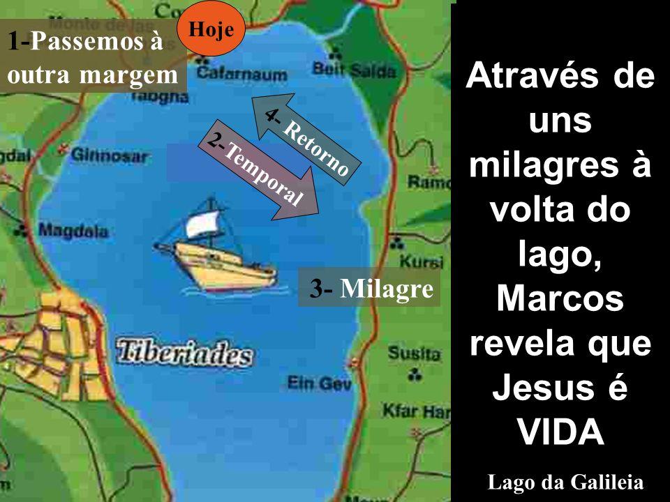 Hoje Através de uns milagres à volta do lago, Marcos revela que Jesus é VIDA Lago da Galileia. 1-Passemos à outra margem.