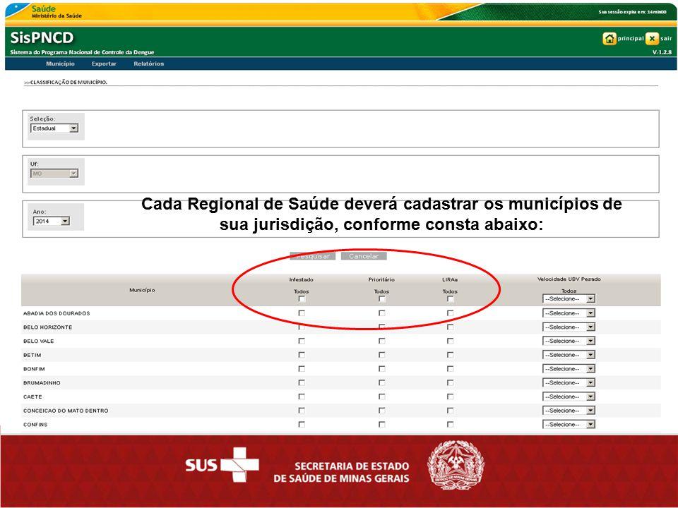 Cada Regional de Saúde deverá cadastrar os municípios de sua jurisdição, conforme consta abaixo: