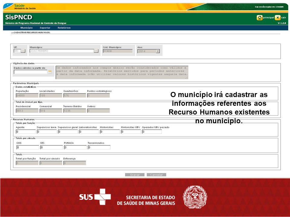 O município irá cadastrar as informações referentes aos Recurso Humanos existentes no município.