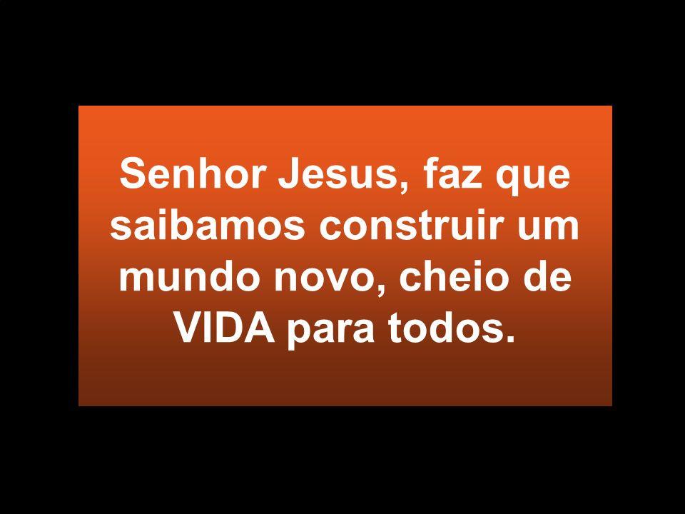 Senhor Jesus, faz que saibamos construir um mundo novo, cheio de VIDA para todos.