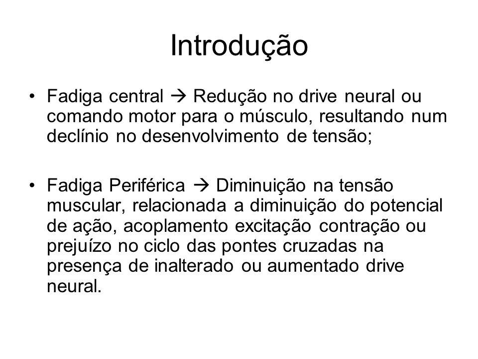 Introdução Fadiga central  Redução no drive neural ou comando motor para o músculo, resultando num declínio no desenvolvimento de tensão;