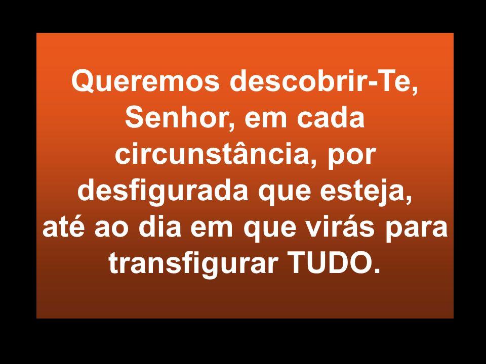 Queremos descobrir-Te, Senhor, em cada circunstância, por desfigurada que esteja, até ao dia em que virás para transfigurar TUDO.