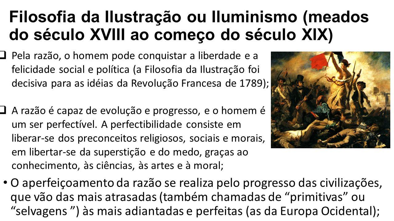 Filosofia da Ilustração ou Iluminismo (meados do século XVIII ao começo do século XIX)