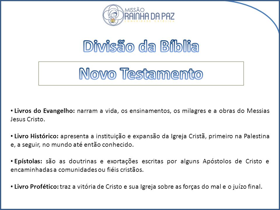 Divisão da Bíblia Novo Testamento
