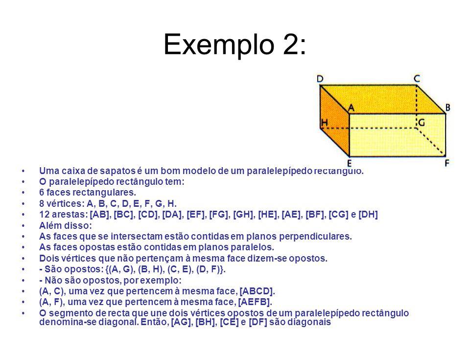Exemplo 2: Uma caixa de sapatos é um bom modelo de um paralelepípedo rectângulo. O paralelepípedo rectângulo tem: